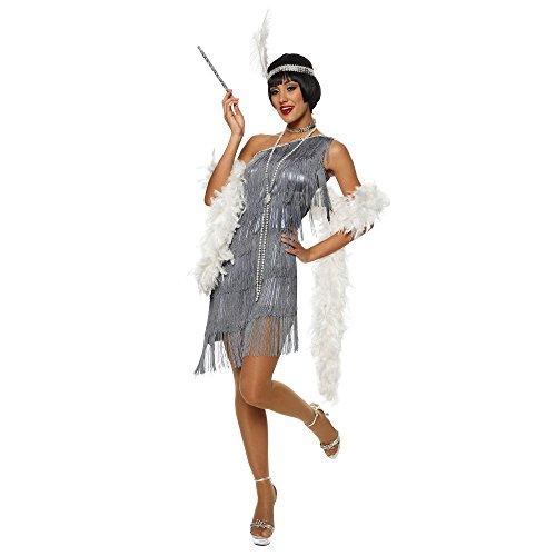Dazzling Flapper Adult Costume Gun Metal Silver - Small