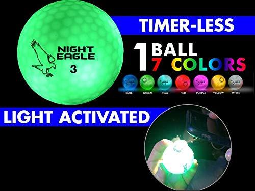 Night Eagle CV LED Golf Balls - Light Activated - No Timer - 6 Pack (7 Color Ball 6 Pack) -