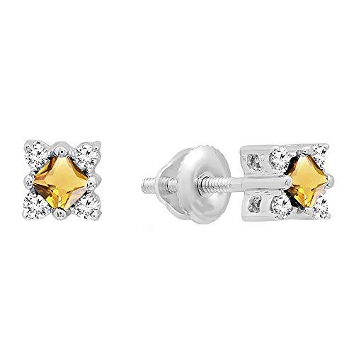 Dazzlingrock Collection 14K Princess Citrine & Round White Diamond Ladies Square Shape Stud Earrings, White Gold