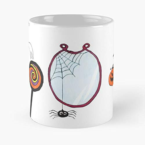 Inktober October Halloween Ghost - 11 Oz Coffee Mugs Unique Ceramic Novelty Cup, The Best Gift For Halloween. -