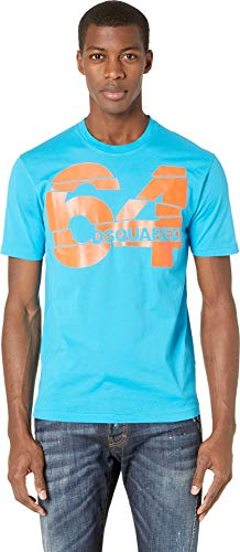 DSQUARED2 Men's 64 Stud Fit T-Shirt Bluette Medium
