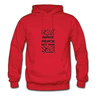 Make Peace Not War الإسلام السلام Lovely X-large Hoody Customizable For Women Red