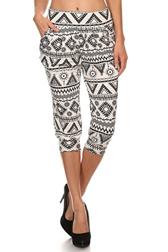 LA12ST Women's White Aztec Sun Stretch Floral Printed Harem Capris (Aztec Sun Collection)