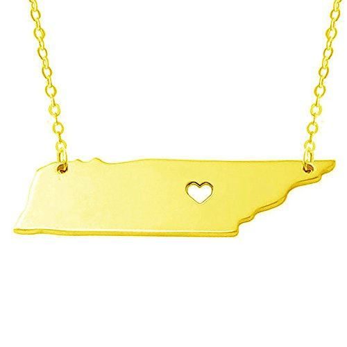 Tennessee Heart Charm - 18K Gold Silver Country Map Charm Pendant Tennessee State Map Necklace Jewelry (Gold)