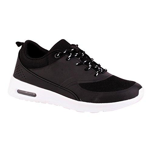 Herren Damen Sneaker Sportschuhe Lauf Freizeit Fitness Low Unisex Schuhe Schwarz/Damen EU 38