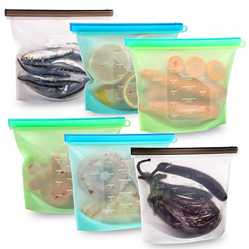 Reusable Silicone Food Storage Bags Set of 6,Airtight Seal Bags for Freezer Preservation,Lunch Containers Ziplock Sandwich Baggies for Vegetable/Meat/Soup/Milk/Snacks,Microwave Oven & Dishwasher Safe
