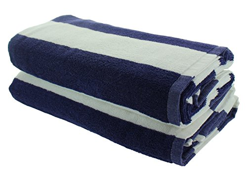 Everyday Resort Quality Cabana Beach Towels - Pack of 2 Cabana Navy Blue Stripe Pool Towels 100% Cotton - Large 60'' by 30'' - Soft and Absorbent, Great for the Pool and the Beach! by Everyday