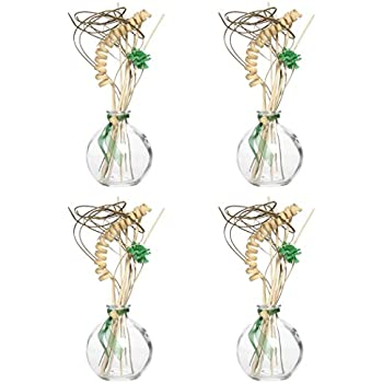 Hosley Set of 4 Glass Diffuser Bottles with Reeds NO Oil Included 100 Milliliters Ideal Gift Use with Essential Oils Replacement Diffusers Reed Sticks Crafts Wedding Party Spa O6