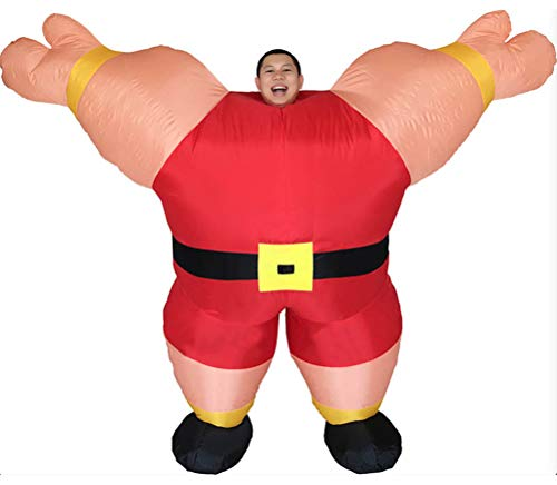 Inflatable Costumes Adult,Halloween Party Funny Strong Man Suits Blow up Cosplay Costume(Red)