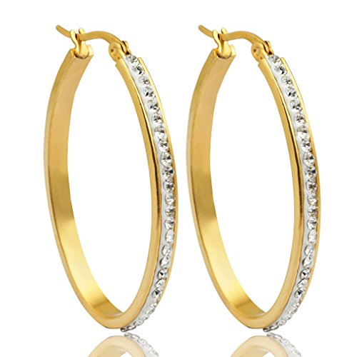 Anni Coco 18K Gold Plated Stainless Steel Clear Crystal Inlay Round Hoop Earrings(40 mm)