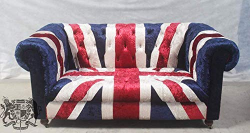 2 Seat Velvet Union Jack British Flag Chesterfield Sofa Amazon Co