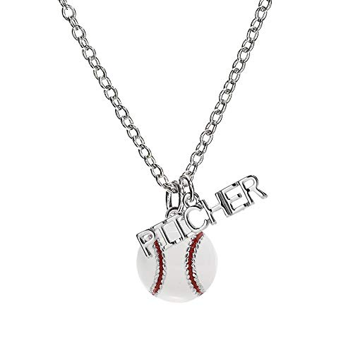 GIMMEDAT Baseball Enamel Ball and Silver Pitcher Charm| Team Player Sport | Player Position Mom Womens Girls