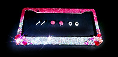 CRYSTAL RIDERS Ombre Bling license plate frame pink silver clear big crystals and glitter clear made in usa handmade diamond rhinestone holder screw caps