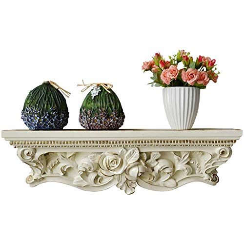(CHAOXIAN Floating Wall Shelves European Style Living Room Solid Wood Partition Hand Painted Carved Flower Stand Storage Rack)