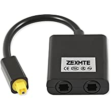 Zexmte Digital Optical Audio Splitter Adapter Fiber Optic Audio Cable 1 in 2 Out Black