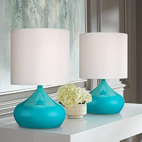Mid Century Modern Contemporary Style Small Accent Table Lamps 14 3/4″ High Set of 2 Teal Blue Steel White Drum Shade Decor