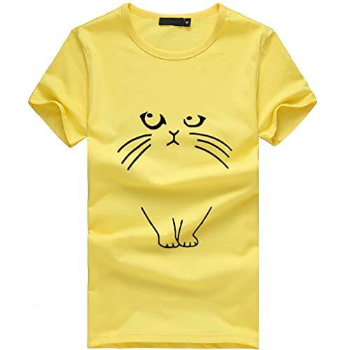 - Fashion Womens Loose Short-Sleeve Cute Cat Print T-Shirt Casual O-Neck Tops Yellow