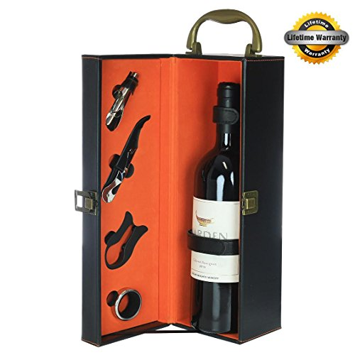 Zalik Wine Gift Box Set Bounded Leather Wine Case – Wine Carrier For Standard Wine Bottle And Serving Accessories - 4 Peace Wine Accessory Set Corkscrew, Foil Cutter, Drip Ring And Wine (Bottle Leather Wine Carrier)