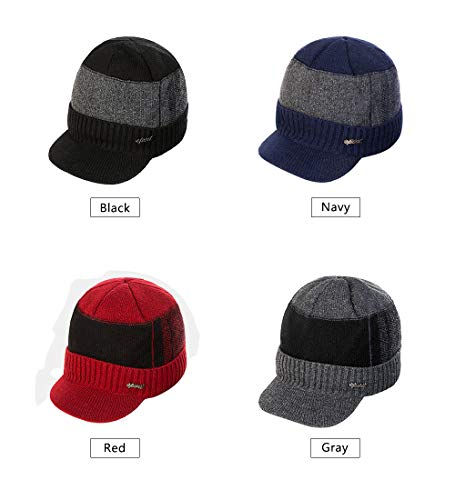 ead4caedac16d3 YOYEAH Men's Outdoor Newsboy Hat Winter Warm Thick Knit Beanie Cap Fleece  Lined Skull Ski Cap