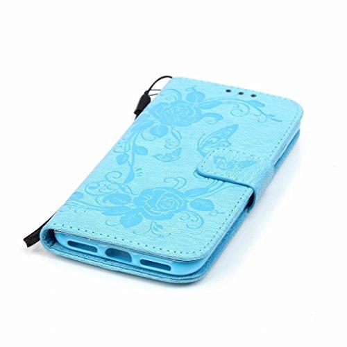 Yiizy Apple IPhone 7 7s Hülle, Prägung Schmetterling Entwurf PU Ledertasche Klappe Beutel Tasche Leder Haut Schale Skin Schutzhülle Cover Case Stehen Kartenhalter Stil Bumper Schutz (Hellblauen)