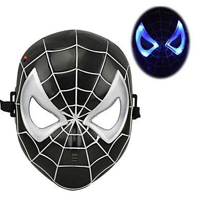 TT-121 Cool Luminous LED Spiderman Mask for Halloween(Black&Red)