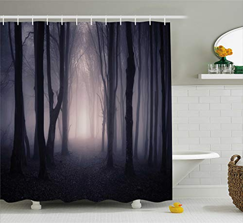 Ambesonne Forest Shower Curtain, Path in Dark Deep in Forest with Fog Halloween Creepy Twisted Branches Picture, Cloth Fabric Bathroom Decor Set with Hooks, 84 Inches Extra Long, Dark Grey Purple