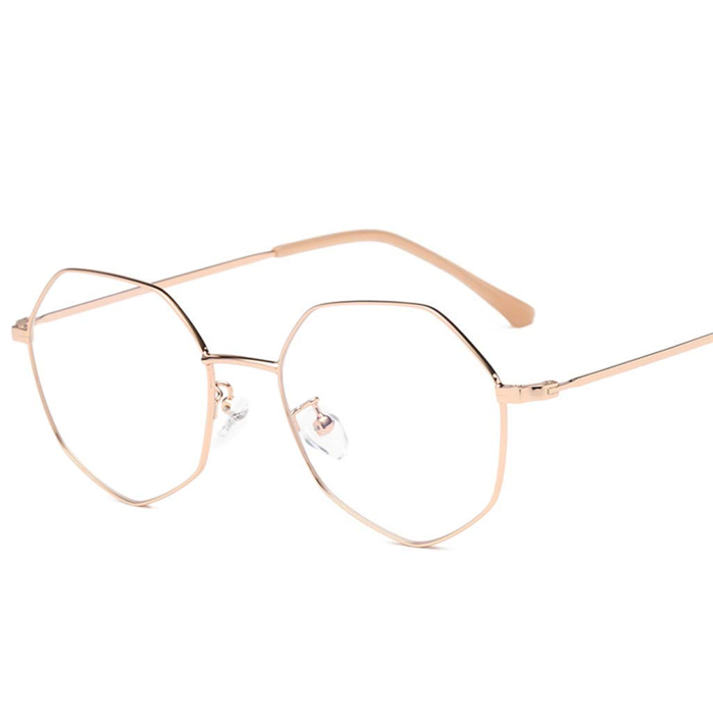 A Anti bluee Light Glasses, Polygonal Glasses Frame Flat Mirror, Unisex (color   D)