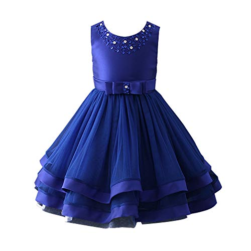 (Glamulice Christmas Dress Girls Ruffles Vintage Embroidered Sequins Lace Dresses Bridesmaid Birthday Party Gown 2-16Y (11-12Y, Deep)