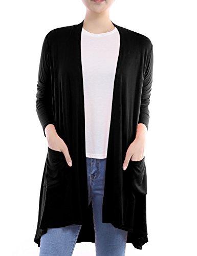 BH B.I.L.Y USA Women's Open Front Long Sleeve Front Pockets Cardigan Black Medium