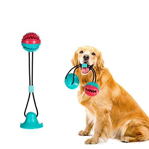 Qamou Dog Chew Toys,Suction Cup DogToy, Dog Ball with Suction Cup,Chewers Toothbrush,Pet Molar Bite, Small Medium Dog…