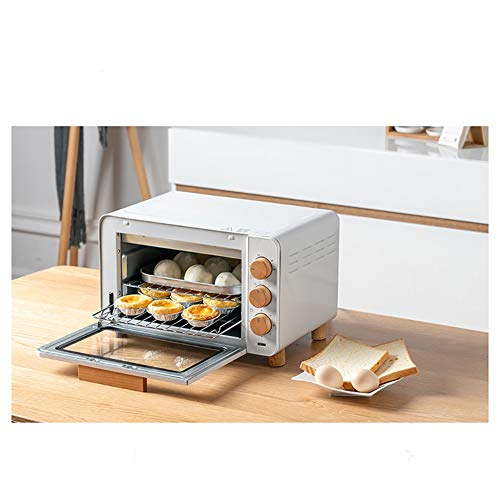 Electric Double Grill - B.YDCM Ovens-Mini Oven With Grill 1200W Electric Oven With Double Hotplate,able Top Cooker With 5 Preset Functions,milky White -Toaster Ovens