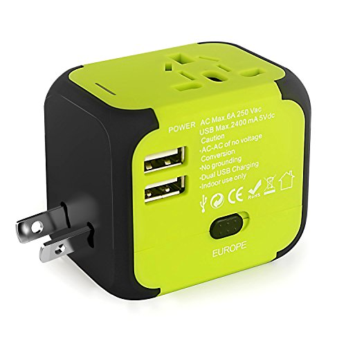 Universal International Power Adapter,Travel Adapter, High Speed 2.4A Dual USB Charger Travel Charger(US UK EU AU) For IPhone, IPad,Smartphones,Tablets,Laptop