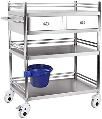 Stainless Steel Medical Trolley With Drawers,Mobile Treatment Carts, 3 Layers Medical Cart,Assemble The Surgical Hand Trucks, Rescue Vehicle Instrument Change Vehicles,Loading Capacity 220 ibs/100