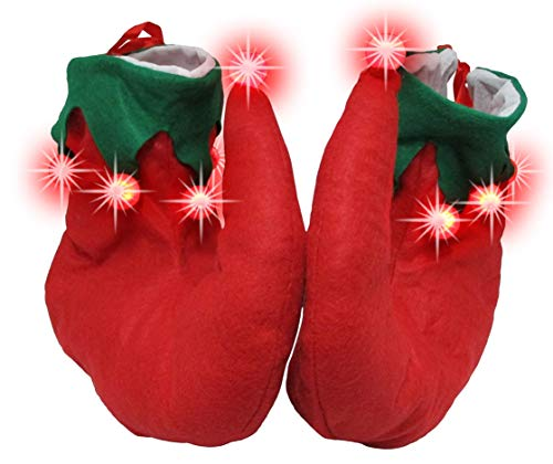- Nicky Bigs Novelties Light Up Santa's Helper Elf Shoes, Red Green, One Size