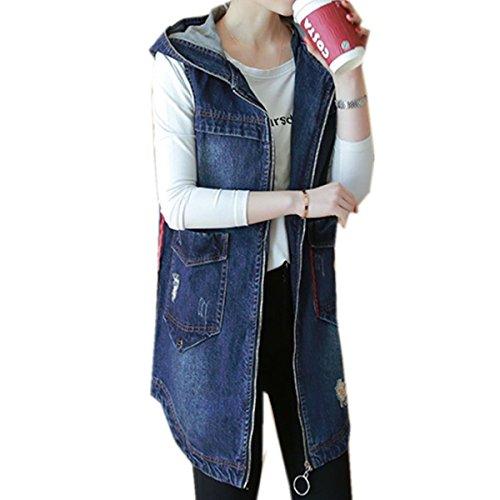 受信感謝祭聖歌レディース シンプルアウター ジャケット デニム ノースリーブ デニム ジャケット レディース カジュアル ファッション 通学 通勤  ブルー ゆったり デニムジャケット可愛い 春秋 おしゃれ上着 帽子付き かっこいいデニムベスト