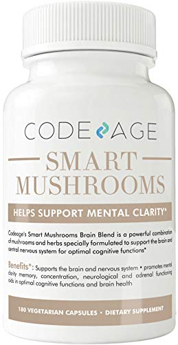 Smart Mushrooms - 180 Count - Organic Lions Mane, Cordyceps, Reishi – Immune System Booster & Nootropic Brain Supplement - Wellness Formula for Natural Energy, Stress Relief, Memory & Liver Support