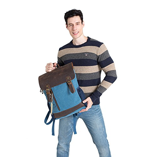 Vintage Leather Canvas Backpack - Retro Canvas School Rucksack Backpack up to 15.6 inch Laptop Bag by AUGUR (Image #5)