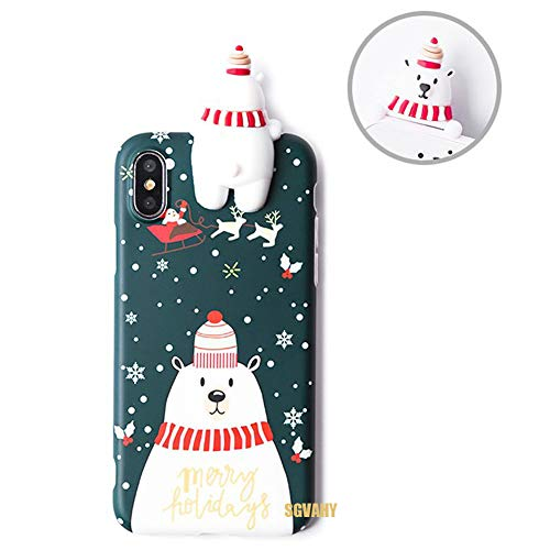 SGVAHY Christmas Case for iPhone Xs Max, Fun Cool Cute 3D Cartoon Polar Bear Design Soft Silicone TPU Slim Shockproof Protective Case for iPhone Xs Max (Polar Bear, iPhone Xs Max)]()