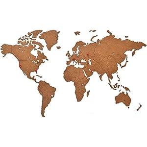 MiMi Innovations – Decoración de Pared de Mapa del Mundo de Madera 90 x 54 cm – Marrón