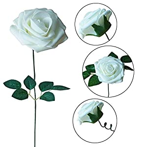 JaosWish 25PCS Real Touch Artificial Roses Fake Flowers with Stem DIY for Wedding Bouquets Baby Shower Party Home Decorations 3