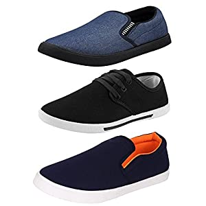 Chevit Men's Black, Navy Blue Canvas Combo Pack of 3 Casual Loafers and Sneakers Shoes -8