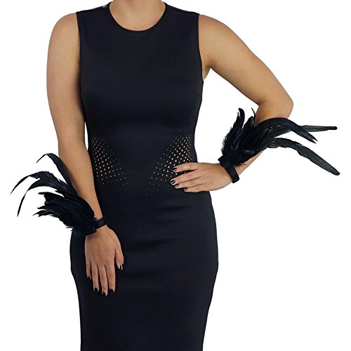 Women's Feather Wrist Cuff Set, (Brothel Madame Costume)