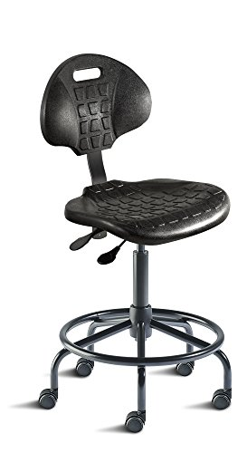 BioFit Engineered Products UUS-M-RC Unique Series Medium Bench Height Chair with Black Self-Skinned Urethane Seat and Backrest, Steel Base and Footring