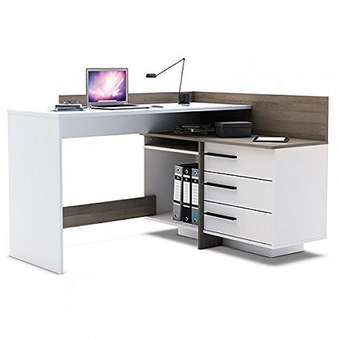 Eckschreibtisch weiß holz  Eckschreibtisch Sophie 2 grau weiß Holz Computertisch ...