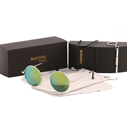 Ronsou Lennon Style Vintage Round Polarized Sunglasses Eyewear with Mirrored or Plain Lens silver frame/blue yellow - Men Sunglasses Reflective