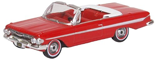 Oxford Diecast 87CI61003 Chevrolet Impala Convertible 1961 White 1:87 Scale Diecast ()