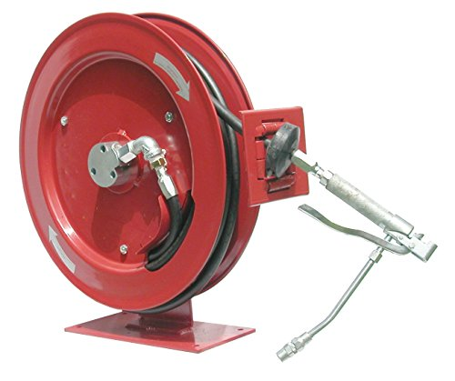 Heavy Duty High Pressure Grease Reel Assembly With Control Valve And Connecting Hose