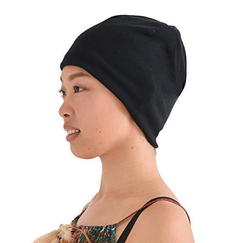 (CHARM 100% Organic Cotton Beanie - Soft Chemo Hat Tight Fit Sensitive Skin Cap Medical Wear Snug Form Fitting Unisex Black)