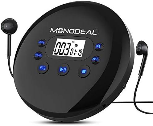 ポータブルCDプレーヤー Monodeal 充電式パーソナルコンパクトディスクプレーヤー ヘッドフォンジャック付き 滑り止め/耐衝撃 小型音楽CD ウォークマン 大型液晶ディスプレイ 車 大人 子供 学生用