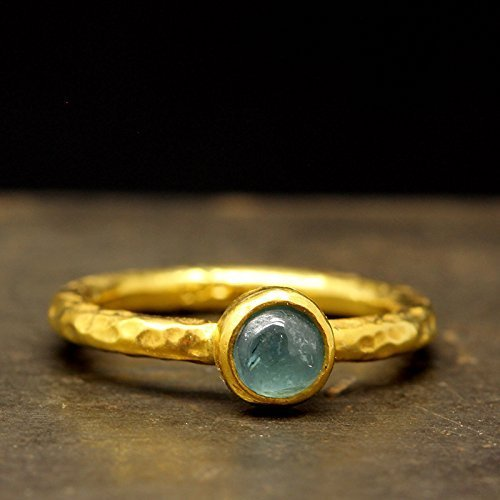 Natural Green Tourmaline Stackable Ring 925 Sterling Silver 24K Yellow Gold Vermeil Hammered Solitaire Handcrafted Bezel Band Stacking (24k Tourmaline Ring)
